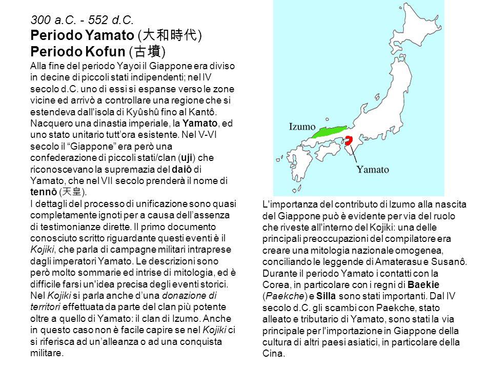 300 a.C. - 552 d.C. Periodo Yamato ( 大和時代 ) Periodo Kofun ( 古墳 ) Alla fine del periodo Yayoi il Giappone era diviso in decine di piccoli stati indipen