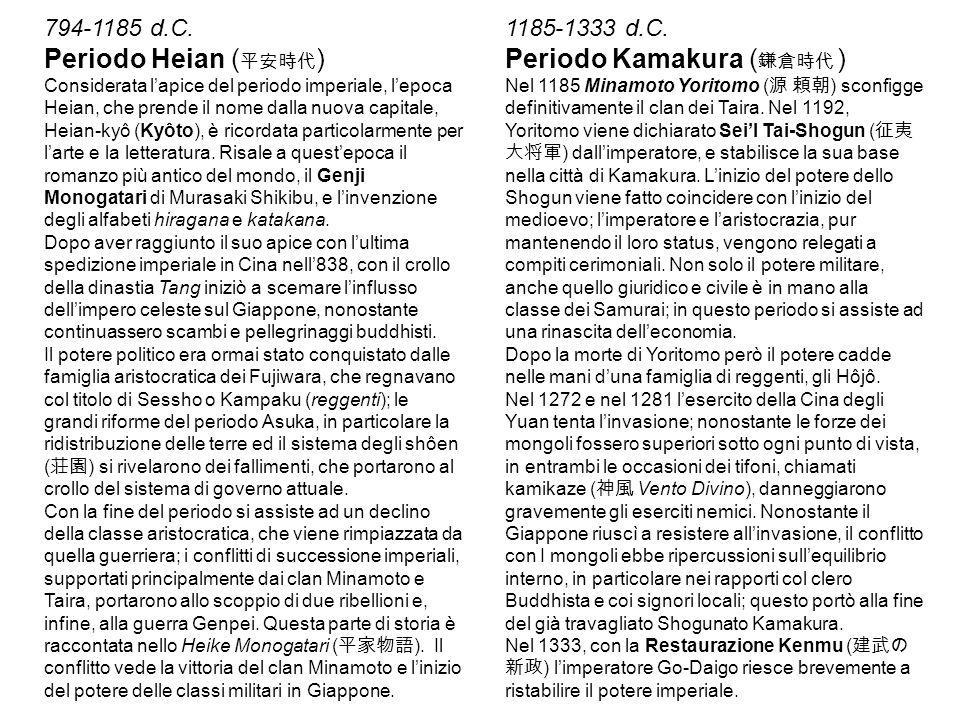 794-1185 d.C. Periodo Heian ( 平安時代 ) Considerata l'apice del periodo imperiale, l'epoca Heian, che prende il nome dalla nuova capitale, Heian-kyô (Kyô
