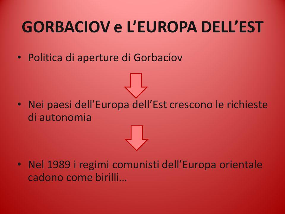 GORBACIOV e L'EUROPA DELL'EST Politica di aperture di Gorbaciov Nei paesi dell'Europa dell'Est crescono le richieste di autonomia Nel 1989 i regimi co