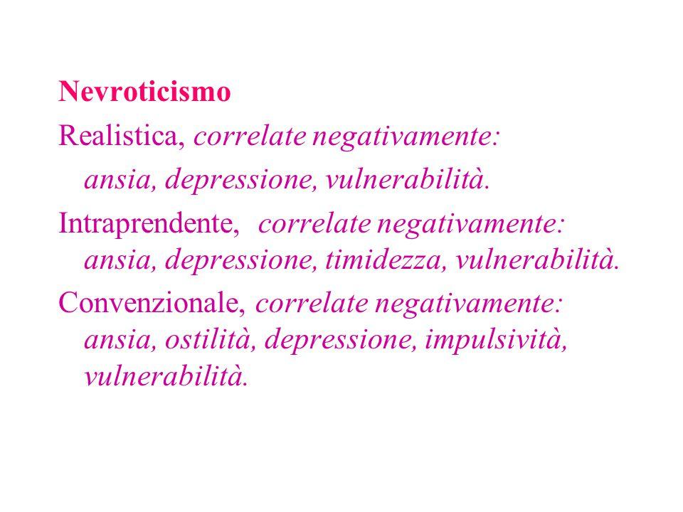 Nevroticismo Realistica, correlate negativamente: ansia, depressione, vulnerabilità. Intraprendente, correlate negativamente: ansia, depressione, timi