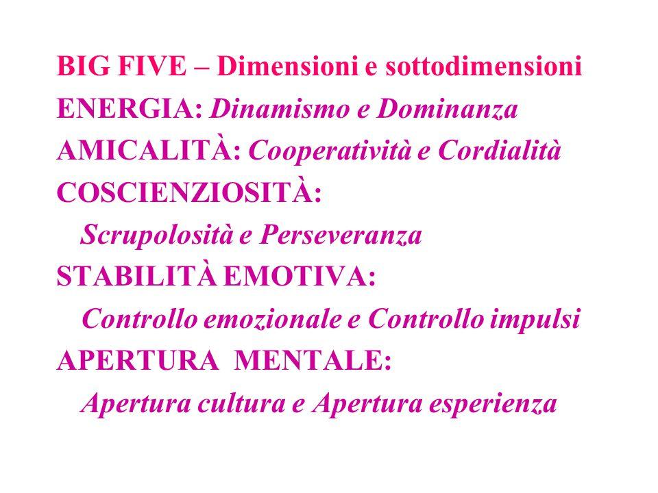 BIG FIVE – Dimensioni e sottodimensioni ENERGIA: Dinamismo e Dominanza AMICALITÀ: Cooperatività e Cordialità COSCIENZIOSITÀ: Scrupolosità e Perseveran