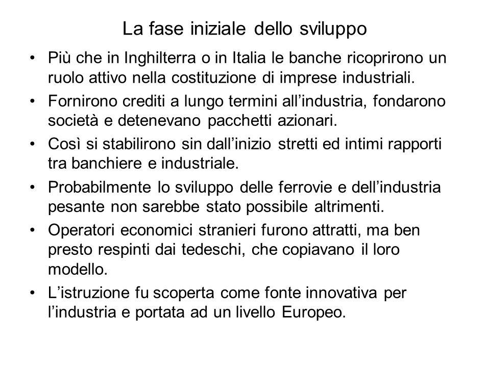 La fase iniziale dello sviluppo Più che in Inghilterra o in Italia le banche ricoprirono un ruolo attivo nella costituzione di imprese industriali.