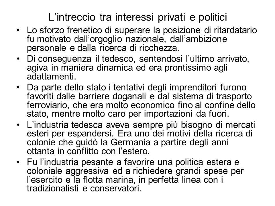L'intreccio tra interessi privati e politici Lo sforzo frenetico di superare la posizione di ritardatario fu motivato dall'orgoglio nazionale, dall'ambizione personale e dalla ricerca di ricchezza.