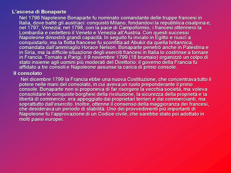 L'ascesa di Bonaparte L'ascesa di Bonaparte Nel 1796 Napoleone Bonaparte fu nominato comandante delle truppe francesi in Italia, dove batté gli austriaci: conquistò Milano, fondandovi la repubblica cisalpina e, nel 1797, Venezia; nel 1798, con la pace di Campoformio, i francesi ottennero la Lombardia e cedettero il Veneto e Venezia all'Austria.