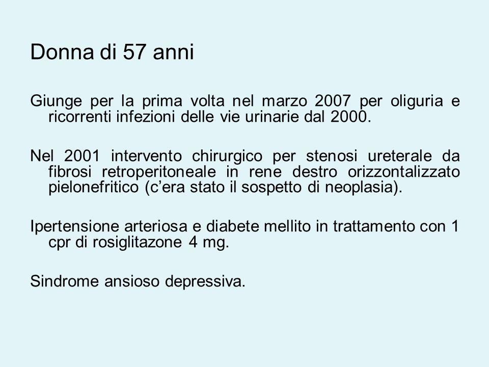 Donna di 57 anni Giunge per la prima volta nel marzo 2007 per oliguria e ricorrenti infezioni delle vie urinarie dal 2000.