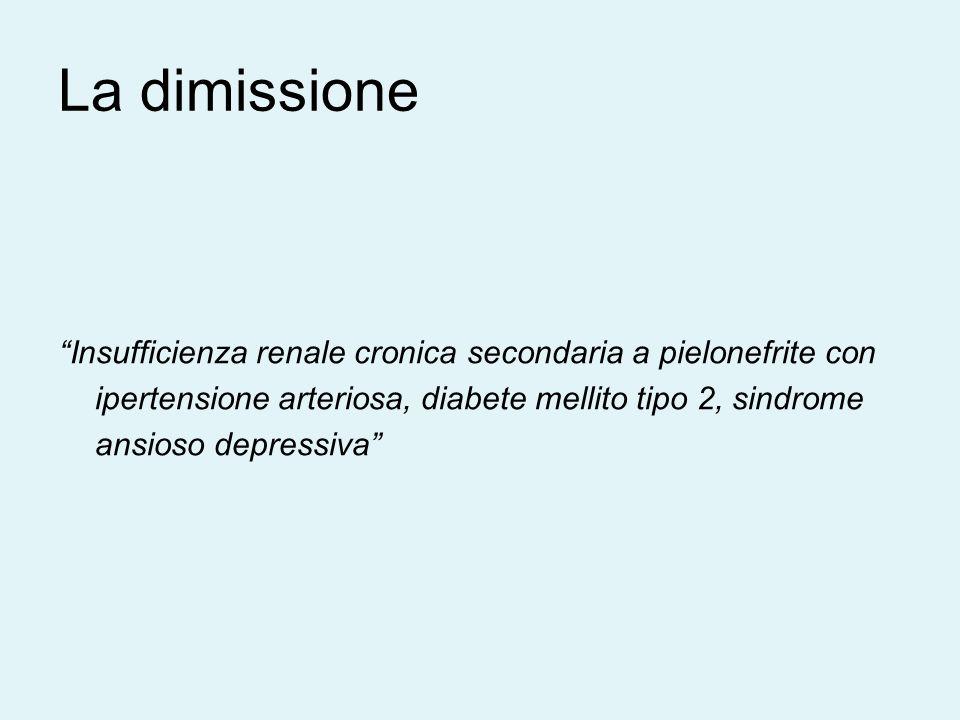La dimissione Insufficienza renale cronica secondaria a pielonefrite con ipertensione arteriosa, diabete mellito tipo 2, sindrome ansioso depressiva