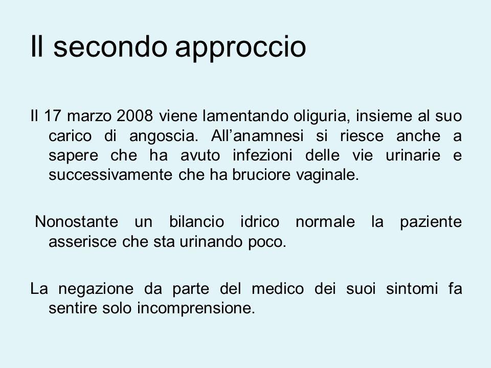 Il 17 marzo 2008 viene lamentando oliguria, insieme al suo carico di angoscia.