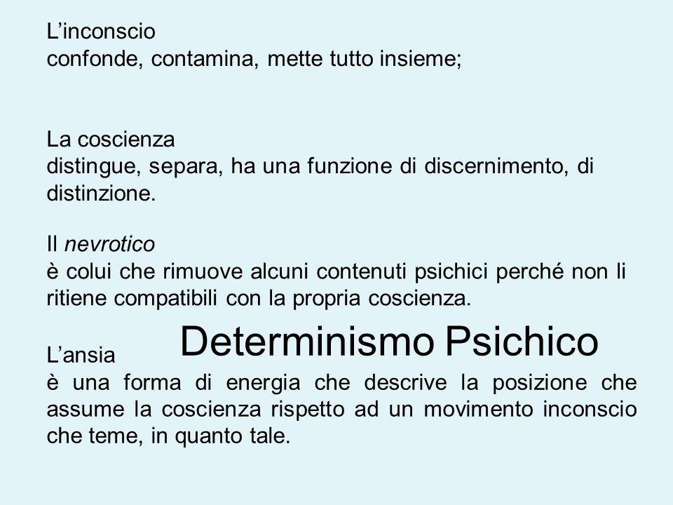 L'inconscio confonde, contamina, mette tutto insieme; La coscienza distingue, separa, ha una funzione di discernimento, di distinzione.