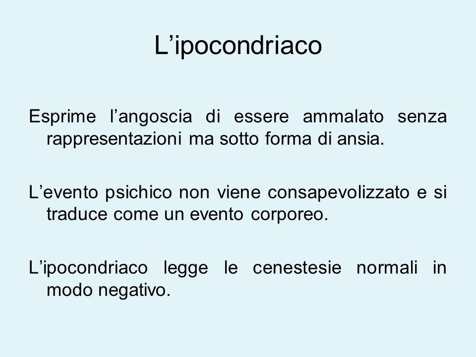 L'ipocondriaco Esprime l'angoscia di essere ammalato senza rappresentazioni ma sotto forma di ansia.