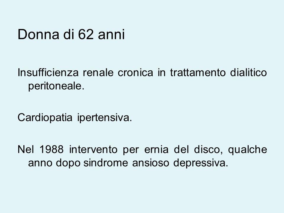 Donna di 62 anni Insufficienza renale cronica in trattamento dialitico peritoneale.
