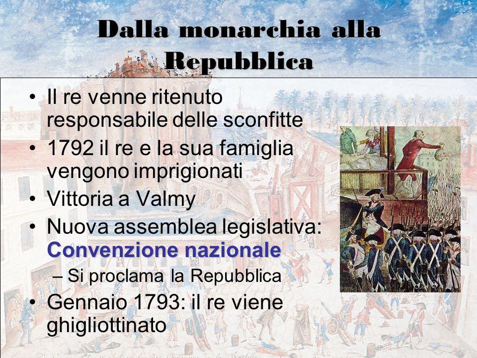 Dalla monarchia alla Repubblica Il re venne ritenuto responsabile delle sconfitte 1792 il re e la sua famiglia vengono imprigionati Vittoria a Valmy C