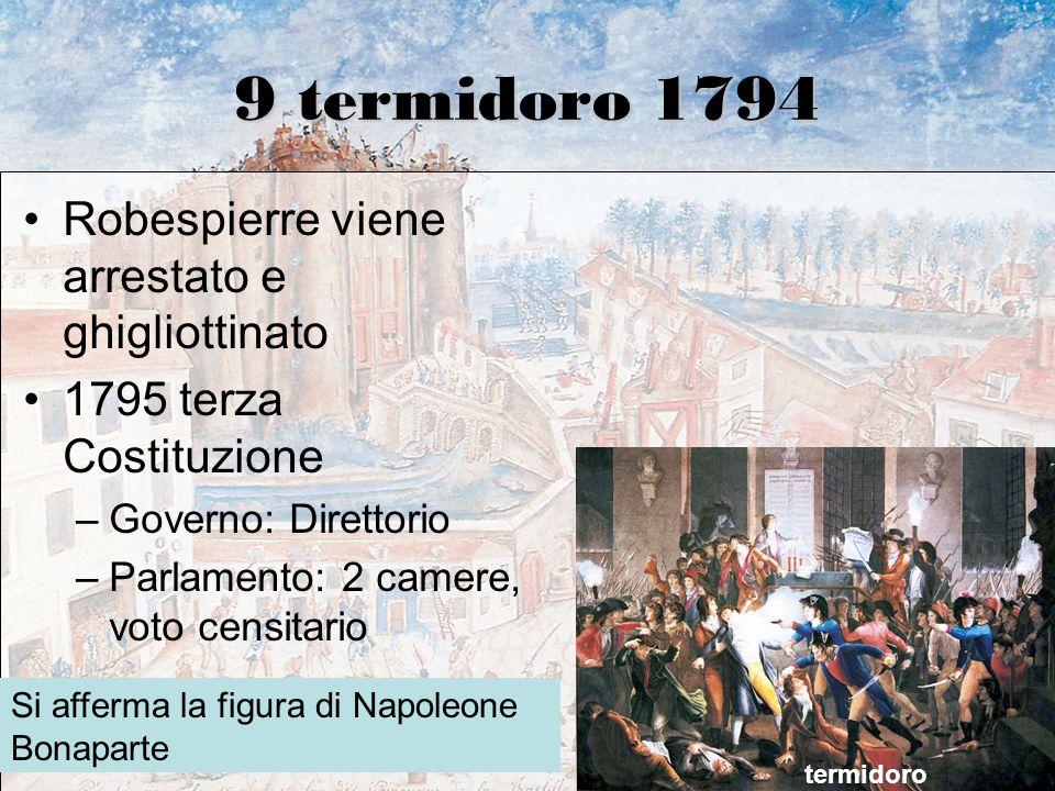 9 termidoro 1794 Robespierre viene arrestato e ghigliottinato 1795 terza Costituzione –Governo: Direttorio –Parlamento: 2 camere, voto censitario term