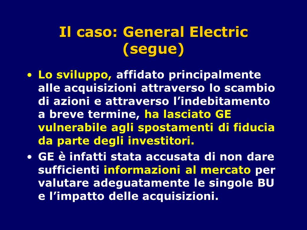 Il caso: General Electric (segue) Lo sviluppo, affidato principalmente alle acquisizioni attraverso lo scambio di azioni e attraverso l'indebitamento a breve termine, ha lasciato GE vulnerabile agli spostamenti di fiducia da parte degli investitori.