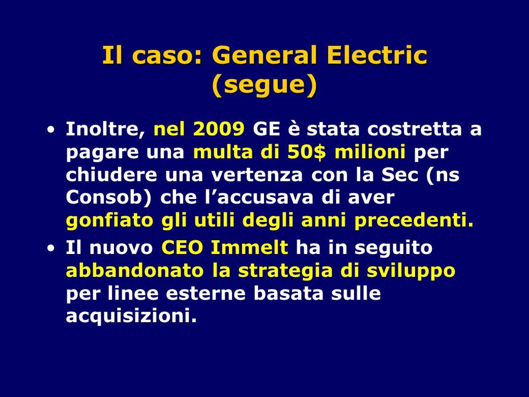 Il caso: General Electric (segue) Inoltre, nel 2009 GE è stata costretta a pagare una multa di 50$ milioni per chiudere una vertenza con la Sec (ns Consob) che l'accusava di aver gonfiato gli utili degli anni precedenti.