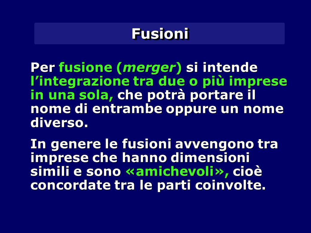 FusioniFusioni Per fusione (merger) si intende l'integrazione tra due o più imprese in una sola, che potrà portare il nome di entrambe oppure un nome diverso.