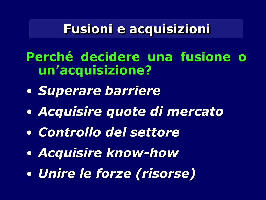 Fusioni e acquisizioni Perché decidere una fusione o un'acquisizione.