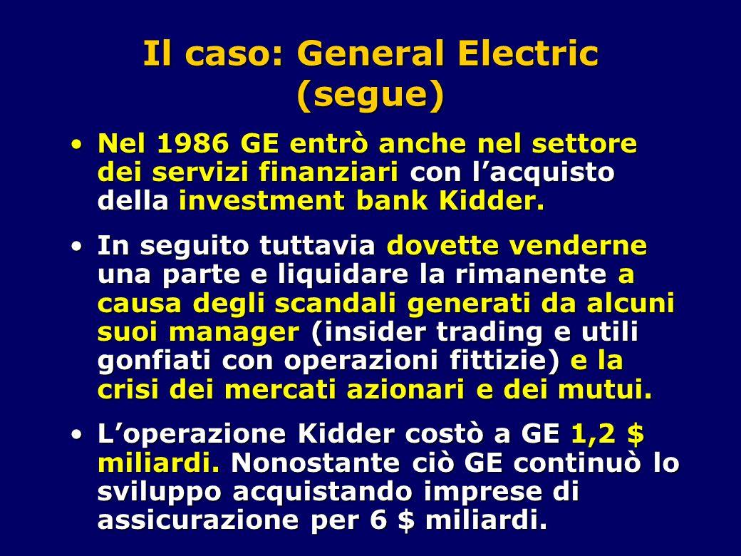 Il caso: General Electric (segue) Nel 1986 GE entrò anche nel settore dei servizi finanziari con l'acquisto della investment bank Kidder.Nel 1986 GE entrò anche nel settore dei servizi finanziari con l'acquisto della investment bank Kidder.