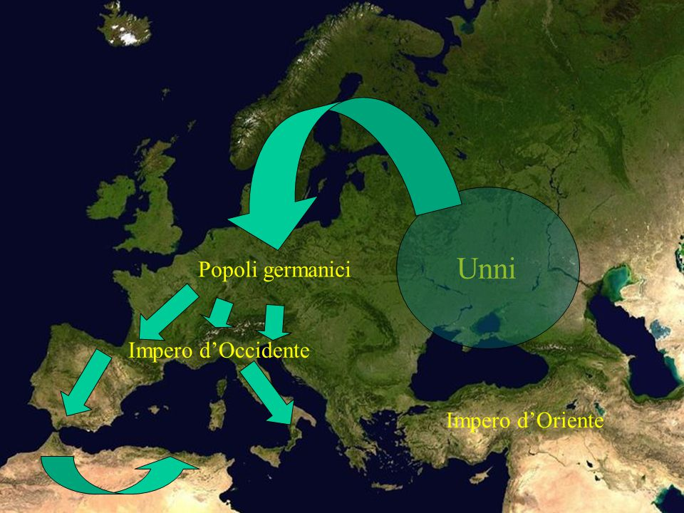Impero d'Oriente Impero d'Occidente Popoli germanici Unni