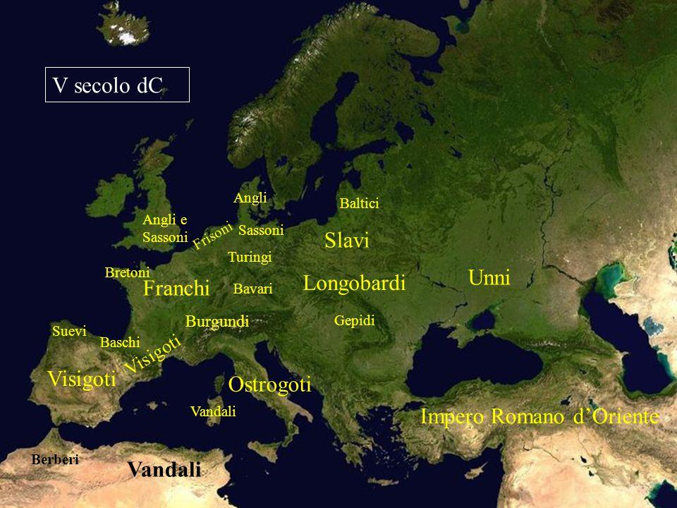 Impero Romano d'Oriente Vandali Visigoti Ostrogoti Burgundi Franchi Angli e Sassoni Longobardi Unni Slavi Angli Sassoni V secolo dC Bretoni Suevi Baschi Baltici Turingi Bavari Gepidi Frisoni Berberi Vandali Visigoti