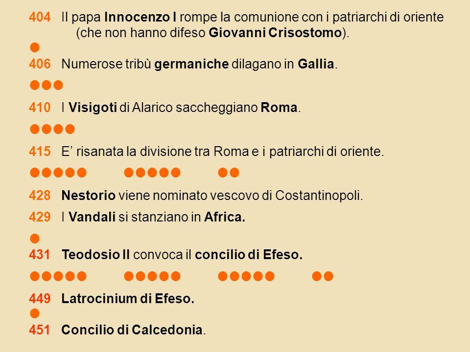 404 Il papa Innocenzo I rompe la comunione con i patriarchi di oriente (che non hanno difeso Giovanni Crisostomo).