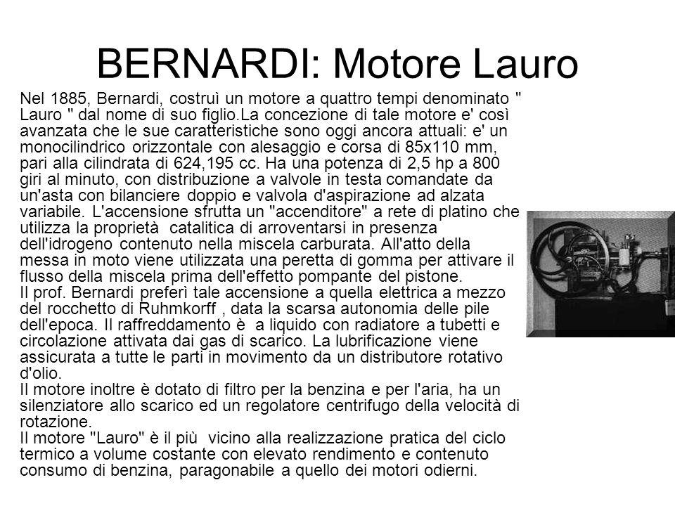BERNARDI: Motore Lauro Nel 1885, Bernardi, costruì un motore a quattro tempi denominato