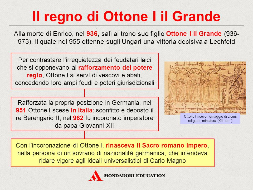Il regno di Ottone I il Grande Alla morte di Enrico, nel 936, salì al trono suo figlio Ottone I il Grande (936- 973), il quale nel 955 ottenne sugli U