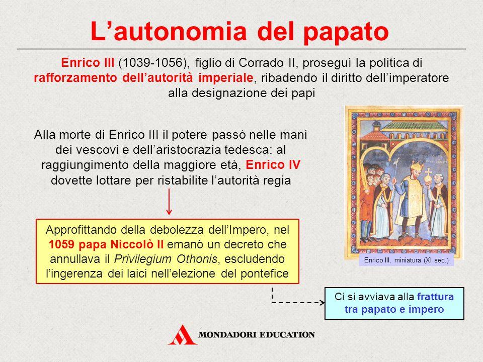 L'autonomia del papato Enrico III (1039-1056), figlio di Corrado II, proseguì la politica di rafforzamento dell'autorità imperiale, ribadendo il dirit