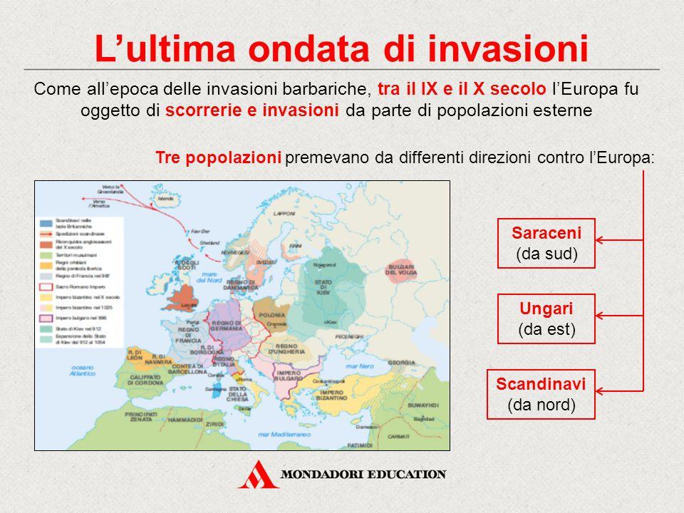 L'ultima ondata di invasioni Come all'epoca delle invasioni barbariche, tra il IX e il X secolo l'Europa fu oggetto di scorrerie e invasioni da parte