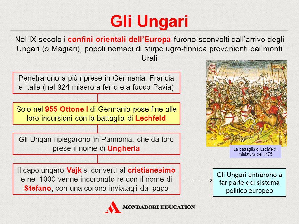 Gli Ungari Nel IX secolo i confini orientali dell'Europa furono sconvolti dall'arrivo degli Ungari (o Magiari), popoli nomadi di stirpe ugro-finnica p