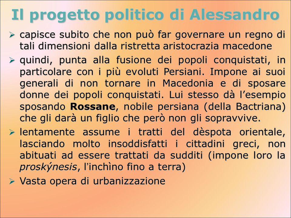 Il progetto politico di Alessandro  capisce subito che non può far governare un regno di tali dimensioni dalla ristretta aristocrazia macedone  quin