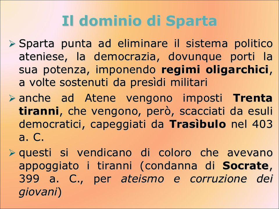  Sparta punta ad eliminare il sistema politico ateniese, la democrazia, dovunque porti la sua potenza, imponendo regimi oligarchici, a volte sostenut