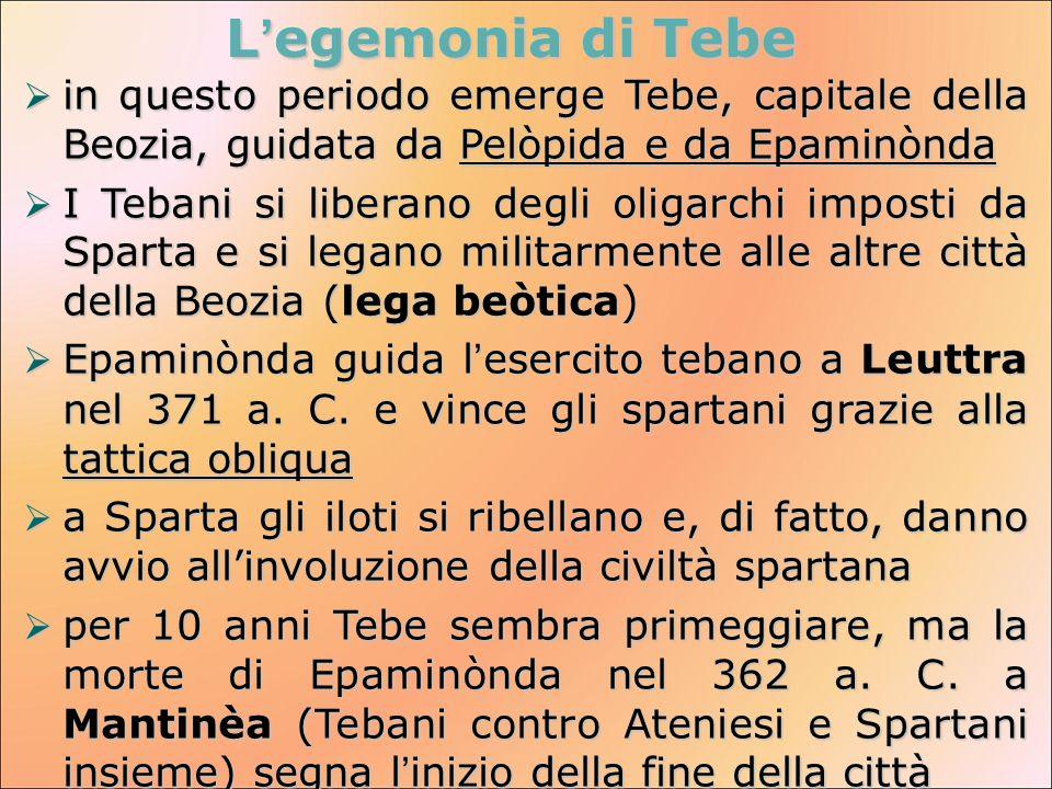 L'egemonia di Tebe  in questo periodo emerge Tebe, capitale della Beozia, guidata da Pelòpida e da Epaminònda  I Tebani si liberano degli oligarchi