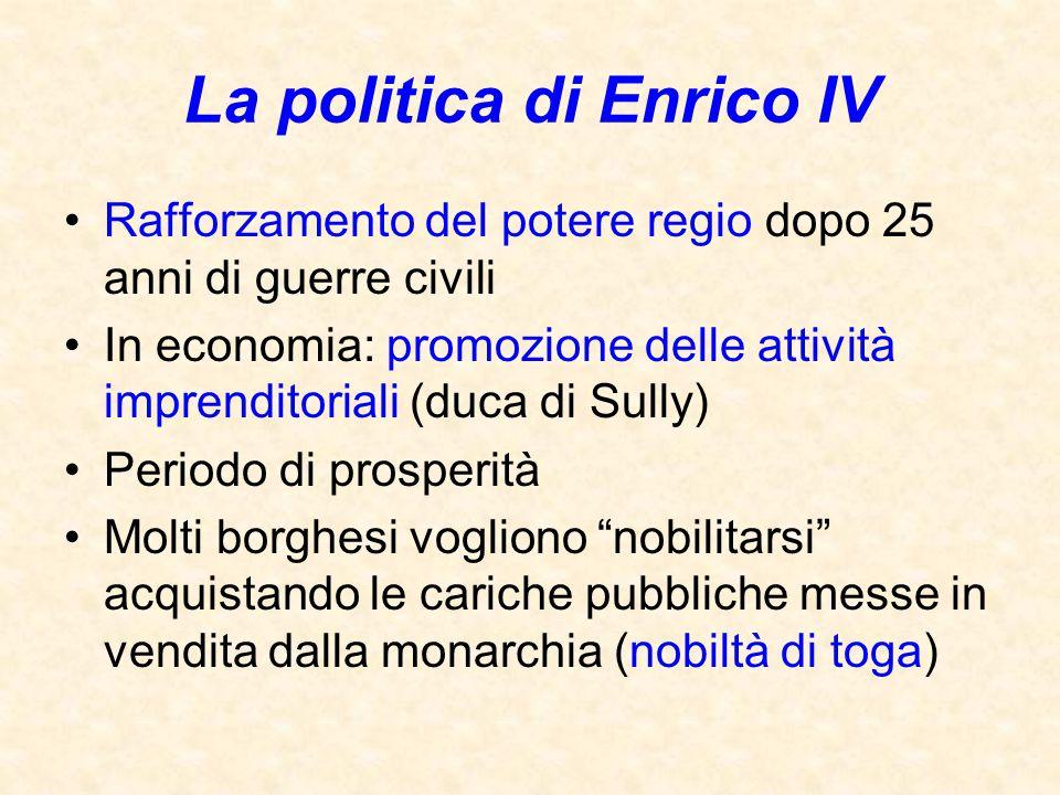 La politica di Enrico IV Rafforzamento del potere regio dopo 25 anni di guerre civili In economia: promozione delle attività imprenditoriali (duca di
