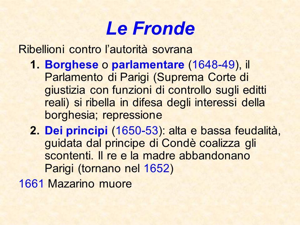 Le Fronde Ribellioni contro l'autorità sovrana 1.Borghese o parlamentare (1648-49), il Parlamento di Parigi (Suprema Corte di giustizia con funzioni d