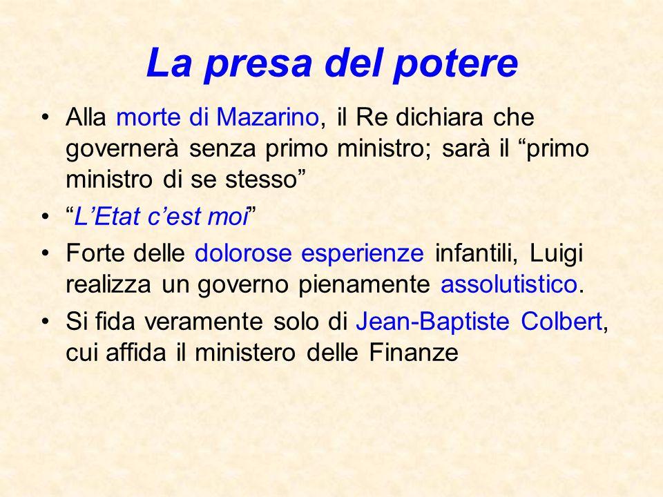 """La presa del potere Alla morte di Mazarino, il Re dichiara che governerà senza primo ministro; sarà il """"primo ministro di se stesso"""" """"L'Etat c'est moi"""