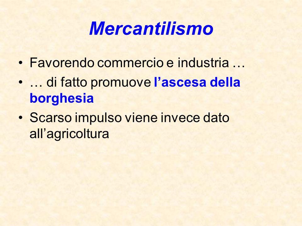 Mercantilismo Favorendo commercio e industria … … di fatto promuove l'ascesa della borghesia Scarso impulso viene invece dato all'agricoltura