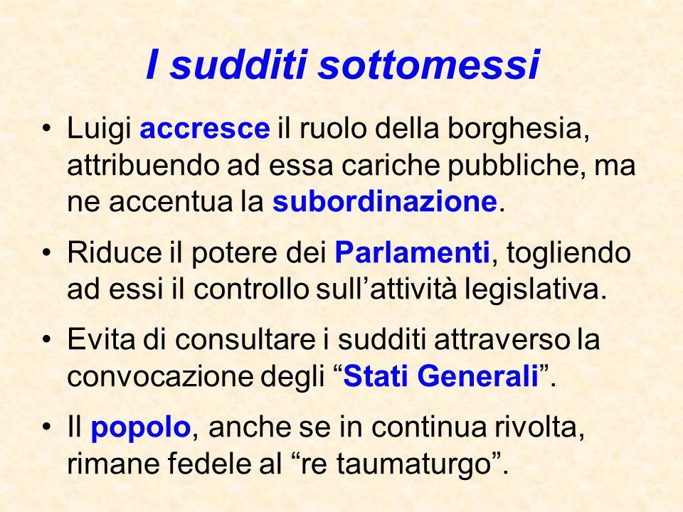 I sudditi sottomessi Luigi accresce il ruolo della borghesia, attribuendo ad essa cariche pubbliche, ma ne accentua la subordinazione. Riduce il poter