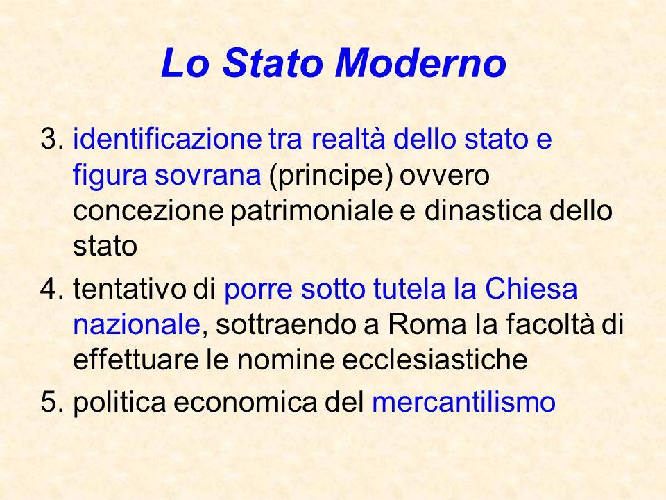 Lo Stato Moderno 3. identificazione tra realtà dello stato e figura sovrana (principe) ovvero concezione patrimoniale e dinastica dello stato 4. tenta