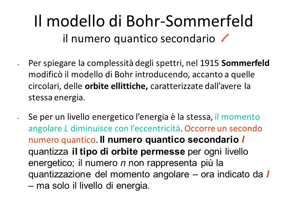 Il modello di Bohr-Sommerfeld Se ora noi ammettiamo che per un certo valore del numero quantico principale n possano esistere, oltre all'orbita circolare, anche alcune orbite ellittiche più o meno eccentriche, l'elettrone che le percorre, cambiando massa lungo il percorso (perché varia la sua velocità), dovrà cambiare anche contenuto energetico.