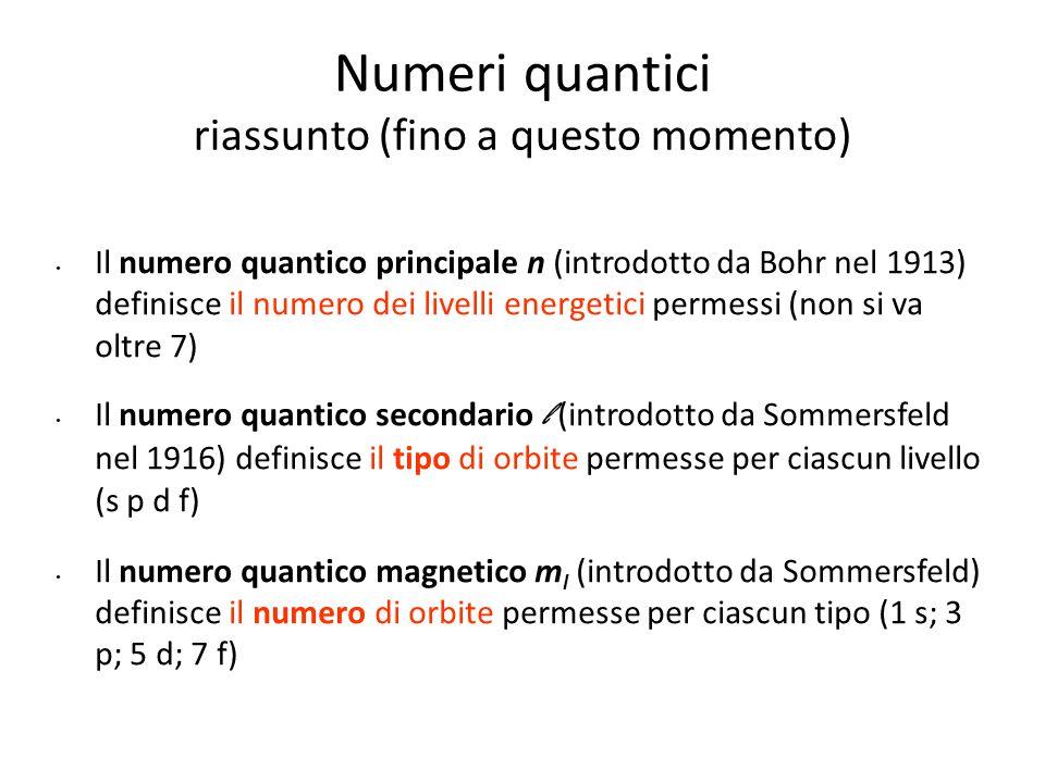 Numeri quantici riassunto (fino a questo momento) Il numero quantico principale n (introdotto da Bohr nel 1913) definisce il numero dei livelli energe