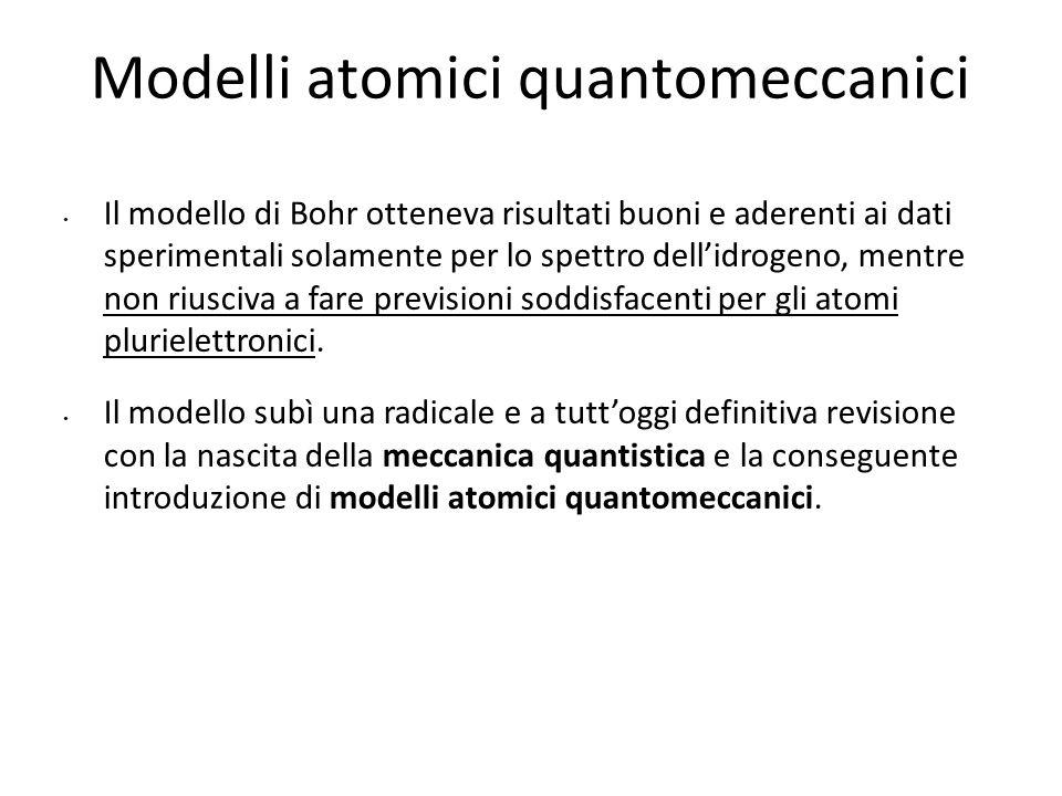 Modelli atomici quantomeccanici Il modello di Bohr otteneva risultati buoni e aderenti ai dati sperimentali solamente per lo spettro dell'idrogeno, me