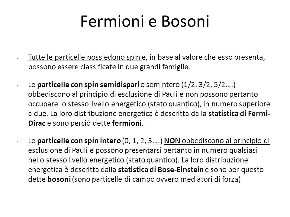 Fermioni e Bosoni Tutte le particelle possiedono spin e, in base al valore che esso presenta, possono essere classificate in due grandi famiglie. Le p