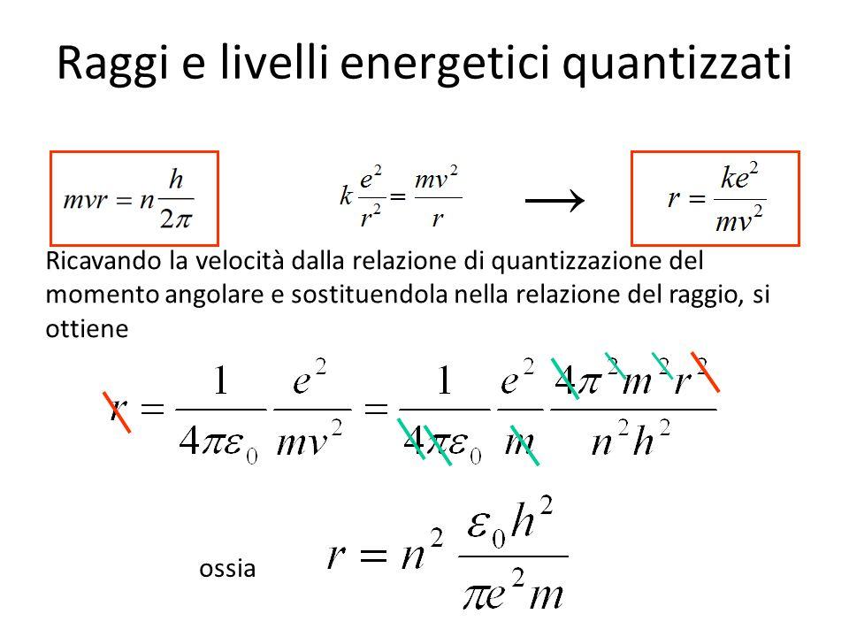 Raggi e livelli energetici quantizzati per n = 1 r = 5,29 10 – 11 m = a o = raggio di Bohr per n = 2 r = 4 a o per n = 3 r = 9 a o etc.