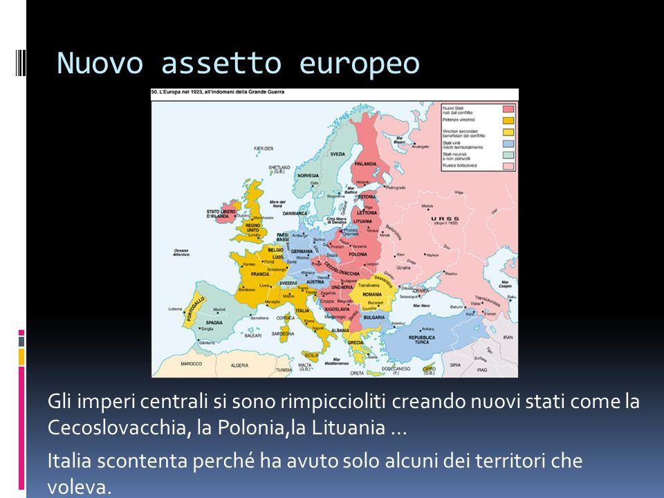 Nuovo assetto europeo Gli imperi centrali si sono rimpiccioliti creando nuovi stati come la Cecoslovacchia, la Polonia,la Lituania … Italia scontenta