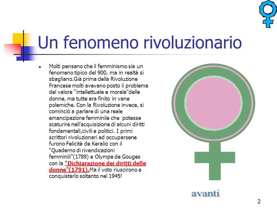 2 Un fenomeno rivoluzionario Molti pensano che il femminismo sia un fenomeno tipico del 900, ma in realtà si sbagliano.Già prima della Rivoluzione Fra