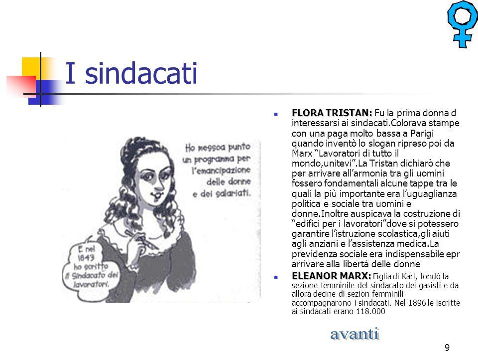 9 I sindacati FLORA TRISTAN: FLORA TRISTAN: Fu la prima donna d interessarsi ai sindacati.Colorava stampe con una paga molto bassa a Parigi quando inv
