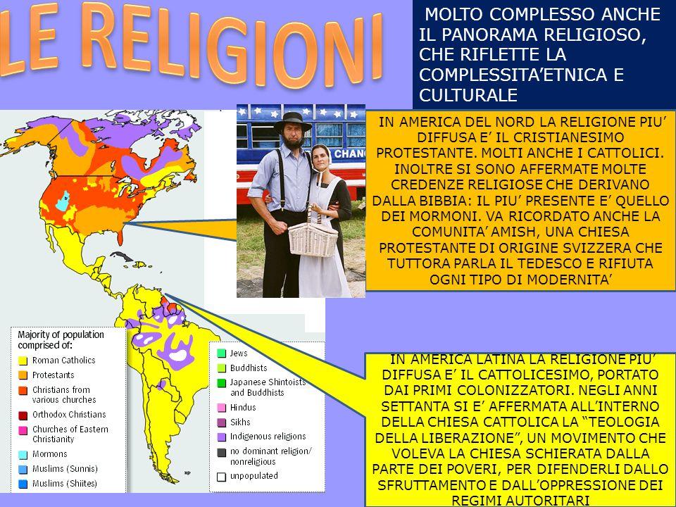 MOLTO COMPLESSO ANCHE IL PANORAMA RELIGIOSO, CHE RIFLETTE LA COMPLESSITA'ETNICA E CULTURALE IN AMERICA DEL NORD LA RELIGIONE PIU' DIFFUSA E' IL CRISTI