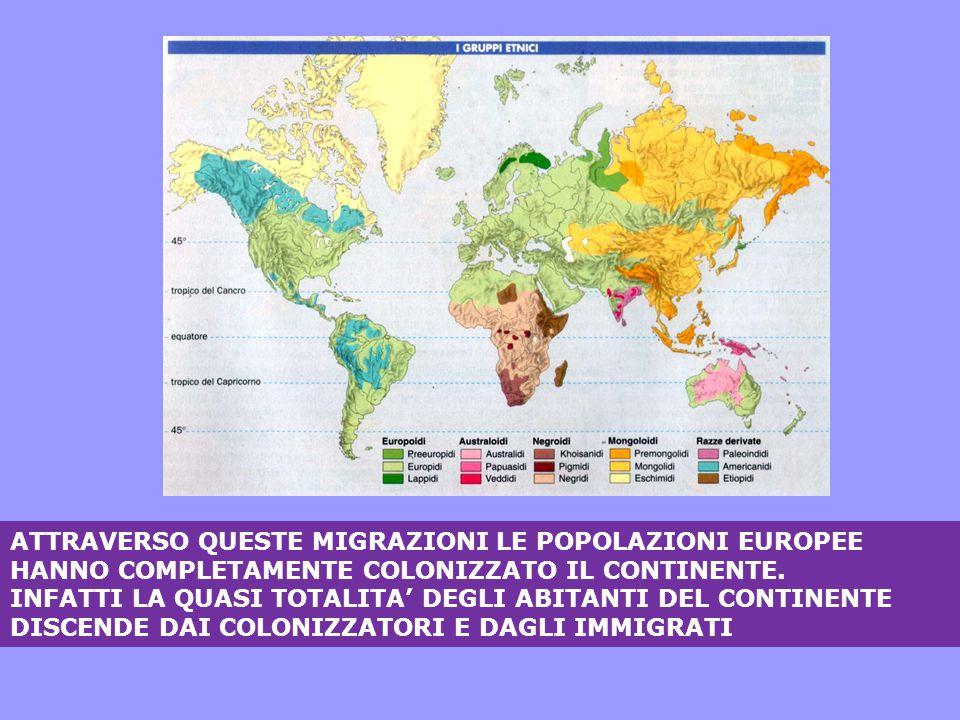 ATTRAVERSO QUESTE MIGRAZIONI LE POPOLAZIONI EUROPEE HANNO COMPLETAMENTE COLONIZZATO IL CONTINENTE. INFATTI LA QUASI TOTALITA' DEGLI ABITANTI DEL CONTI