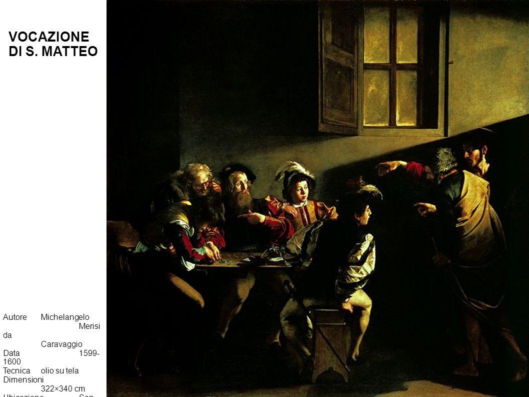 AutoreMichelangelo Merisi da Caravaggio Data1599- 1600 Tecnicaolio su tela Dimensioni 322×340 cm UbicazioneSan Luigi dei Francesi, Roma VOCAZIONE DI S