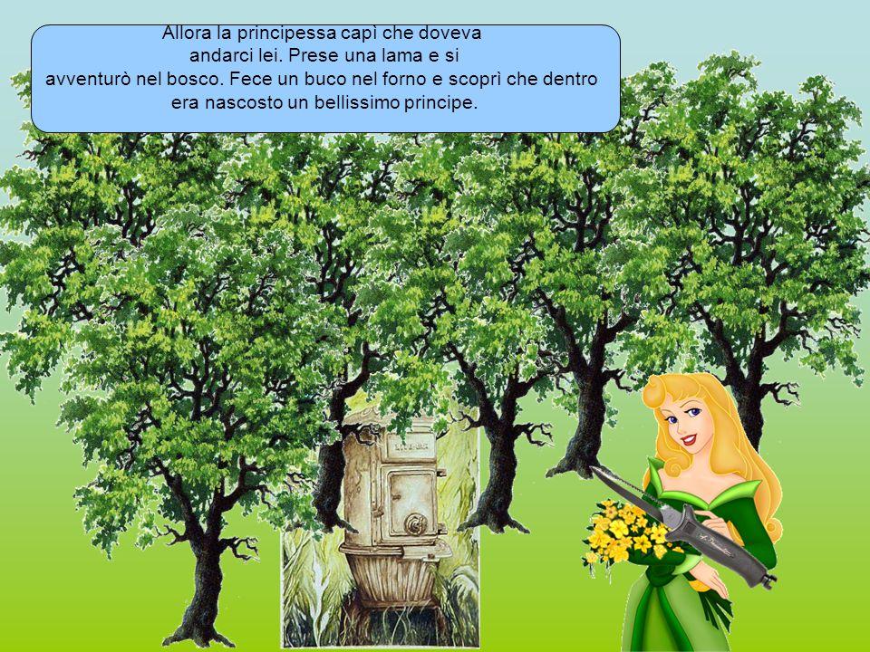 Allora la principessa capì che doveva andarci lei. Prese una lama e si avventurò nel bosco. Fece un buco nel forno e scoprì che dentro era nascosto un